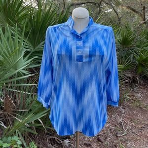 Aimee of California Blue Striped Poly Blouse 70s